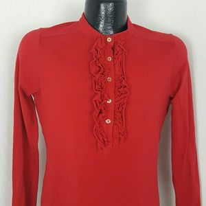 Tory Burch red top long sleeve size L cotton blend